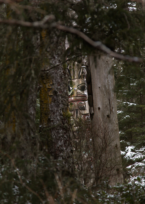 totem face through trees, Totems Historic District, Kasaan, Alaska