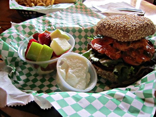 "vegan spicy ""chicken"" sandwich at Green, my fave!"