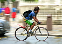 London courier (jeremyhughes) Tags: street motion blur london speed movement nikon cyclist archive stpauls explore singlespeed fixie fixedgear messenger d200 nikkor courier panning bikemessenger slowshutterspeed courierbag fixedwheel cyclecourier