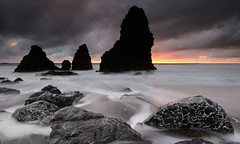 Rodeo rocks... (Marc Briggs) Tags: ocean sea storm beach water clouds coast sand rocks waves pacific stones marin pacificocean headlands marincounty cobbles marinheadlands rodeobeach dsc0446a