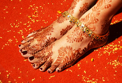 The Bride's Feet (deepu9in) Tags: wedding red india feet girl foot bride design rice ceremony culture marriage jewellery bridal henna mehendi sleek anklet