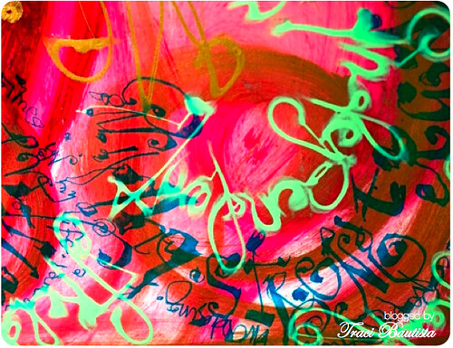 layers of letters using Pilot parallel pen & crayola spider writers