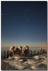 THREE SISTERS (_Val W) Tags: longexposure nightphotography winter waves nightimages streetlights greatlakes moonrise nightshots startrails longexposures erieau pentaxk10d valwest imgp8146