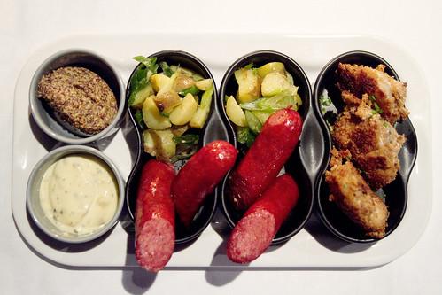 sausages, potato salad, fried cod tongues