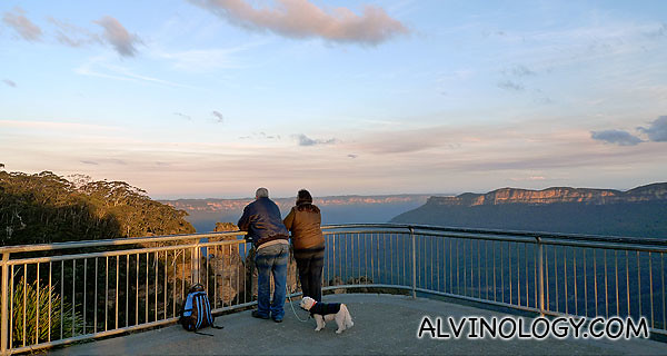You can enjoy the sunset with a companion and a dog at the Three Sisters