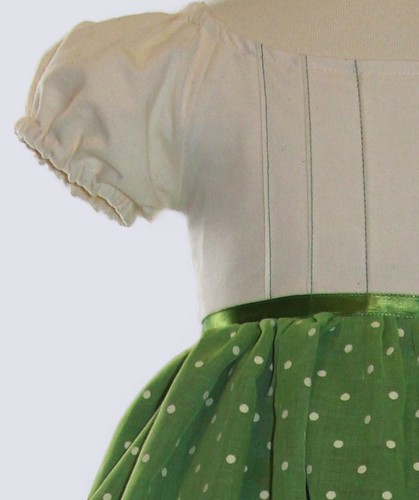 Green Dress Pintuck Detail Vintage Inspired