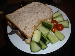 Soggy sambo with cucumber & cherry tomatoes