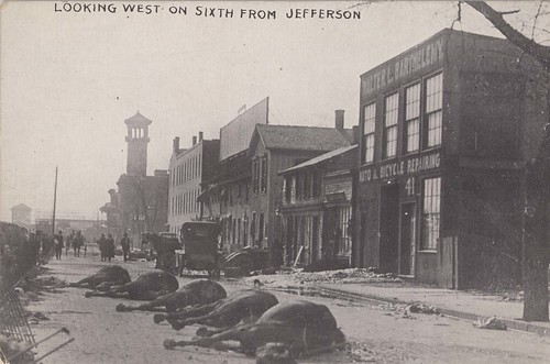 Looking West on Sixth from Jefferson, Dayton, OH - 1913 Flood