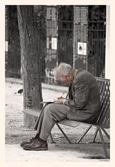 Lettre  ma bien aime (francoisep) Tags: paris solitude homme jardindesplantes photoschop