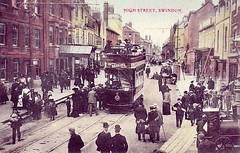c1905: High Street, Swindon (Postcard 2) (Local Studies, Swindon Central Library) Tags: bw colour bell postcard swindon tram wiltshire oldtown highstreet hooper crowds 1905 1900s haskins bellinn thebellinn williamhooper