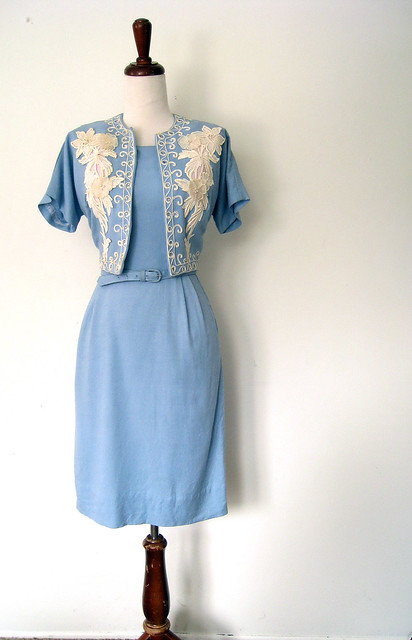 Cornflower Blue & Lace Dress & Bolero Suit, vintage 50's