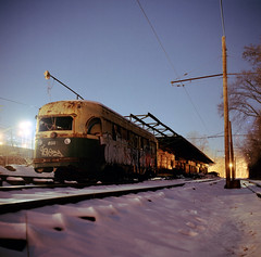 Rusting (Daniel Regner) Tags: camera old city railroad 120 film buses night analog speed vintage dark photography star model focus long exposure kodak daniel c release trails charles cable baltimore falls iso railcar 1950s transit shutter depot traincar series 100 manual asa february yashica hampden rd decaying emulsion ektar 2011 regner fallsway releae