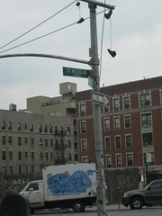 (P-100) Tags: life street nyc lamp truck graffiti post harlem gimp sneakers uptown stnicholas fill throwie