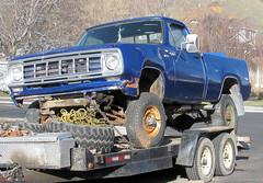 Blue Power Wagon (Eyellgeteven) Tags: blue truck 1974 rust 4x4 rusty pickup dent rusted dodge mopar trailer dents beater americanmade fourwheeldrive dented worktruck powerwagon shortbed eyellgeteven