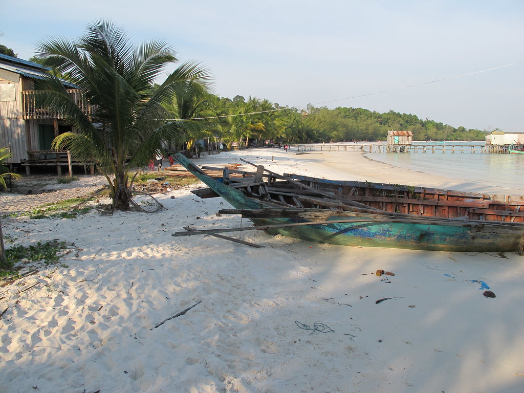 Boat and a beach, Koh Rong, Cambodia