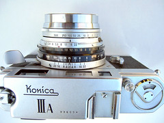 Konica IIIA lens showing EV coupling