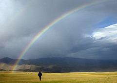 Rainbow On The Steppe, Saralasaz Jailoo, Kyrgyzstan (Eric Lafforgue) Tags: people en man mountains male horizontal standing person one rainbow asia exterior horizon fulllength arc ciel pasture centralasia kyrgyzstan humanbeing nomads oneperson colorphoto mountainous 1504 kyrgyzrepublic kirghizistan kirgistan kirghizstan kirgisistan  nomadiclifestyle   saralasazjailoo quirguizisto