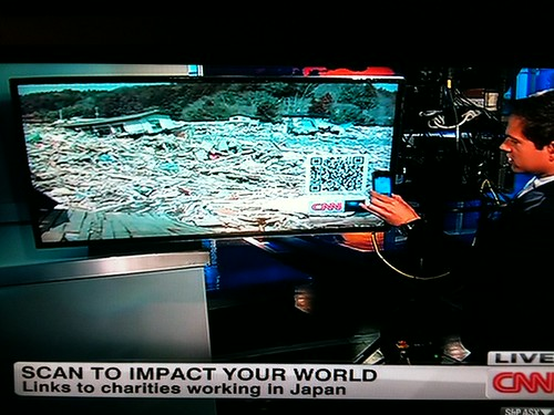 CNN educating consumers on QR codes to donate to Japan