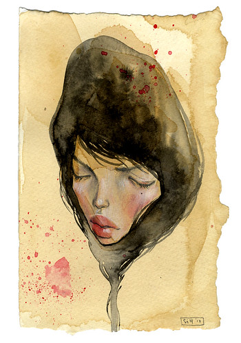 "Quiet Oblivion. 4.25"" x 6.75"". Ink, Graphite, Watercolor & Colored Pencil on Tea-stained Paper. © 2011"