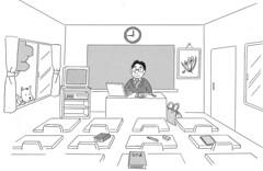 1-05-03-classroom (New Nakama) Tags: door dog clock television pencil computer bag book tv video chair classroom desk eraser picture books teacher chalkboard ビデオ 犬 blackboard textbook テレビ 黒板 時計 絵 先生 本 ドア え 教科書 消しゴム 教室 いす いぬ 机 鞄 バッグ コンピュータ えんぴつ かばん テキスト とけい ほん つくえ きょうしつ きょうかしょ せんせい けしゴム こくばん
