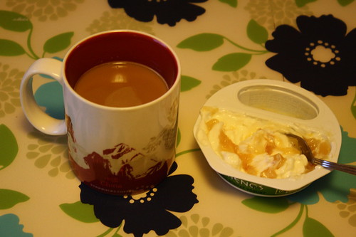 coffee, athenos peach greek yogurt