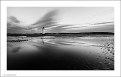 Point of Ayr Lighthouse (Ian Bramham) Tags: blackandwhite bw lighthouse reflection beach water wales landscape photography photo nikon image fineart north photograph talacre pointofayr d700 ianbramham 1635vr welcomeuk