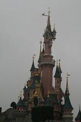 Castle in dull sky (surfershark) Tags: pink blue paris tower castle gold disneyland tinkerbell disney eurodisney
