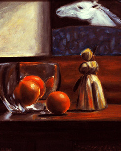 Still life with oranges on desk by Gayle Bell