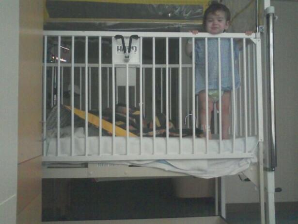 Britt in Hospital Crib