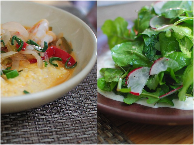 shrimp and grits // arugula salad
