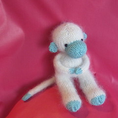 put your monkey where your mouth is (wholelottalisa) Tags: blue white felted toy monkey stuffed play handmade knit pretend