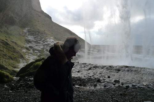 the missus behind a waterfall