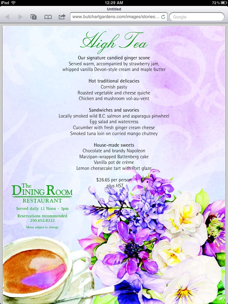 Butchart Gardens High Tea Menu