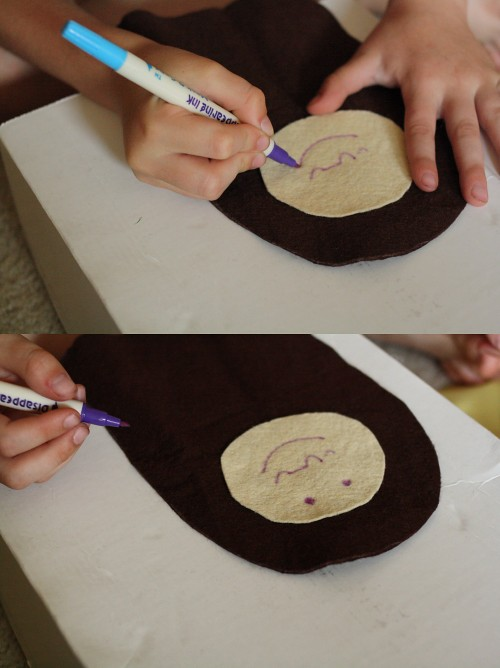 drawing the face pattern to embroider