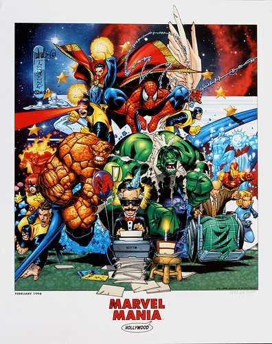 Marvel Comics - Marvel Mania theme restaraunt Hollywood promo poster - February 1998