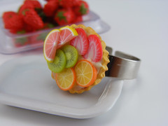 Seasonal Fruit Tartlet Ring (Shay Aaron) Tags: food orange cake pie crust miniature rainbow strawberry colorful handmade aaron cream fake mini jewelry polymerclay fimo tiny pastry faux shay grapefruit kiwi geekery jewel petit patissier tartlet shayaaron wearablefood