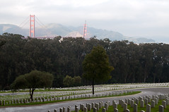 Cemetary and Golden Gate Bridge Photo
