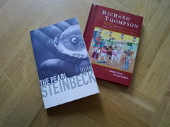 The two parcels I've been waiting for arrived today (Pickersgill Reef) Tags: cameraphone book dvd cd thepearl richardthompson johnsteinbeck 1000yearsofpopularmusic nokian86