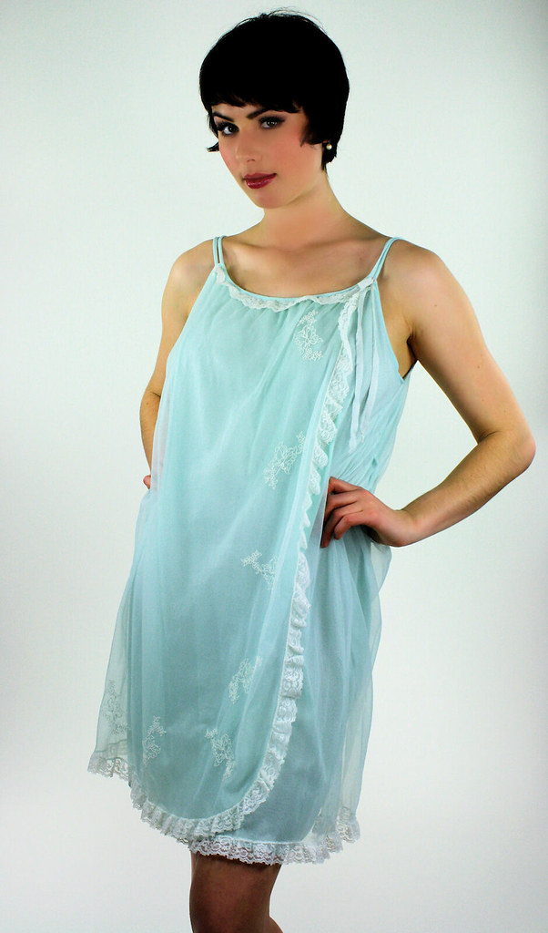 60s robin's egg blue sheer babydoll nightie