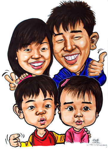 family caricatures in colour marker 25012011