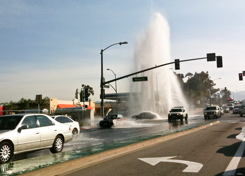 busted water main along nogales and walnut