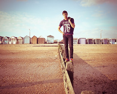Oh, I Do Like To Be . . . - Southend (mattlindn) Tags: uk sea summer portrait england sky selfportrait man male guy beach clouds hair seaside warm happiness clothes portraiture dreams essex beachhuts southend 2010 southendonsea