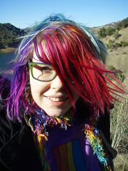 Really windy (Megan is me...) Tags: blue red portrait orange lake color green colors smile fashion rose yellow self hair effects photography one diy clothing crazy rainbow eyes colorful neon pretty colours russell bright unique awesome meg violet plum megan style nuclear special clothes kind fishbowl iguana jerome colored mayhem punky striped bleached dyed napalm sfx berryessa rosered megface meganisme bleachednapalmorange