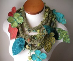 Long and Leafy Scarf with Embroidered Leaves- Tweedy Asparagus Green with Sap Green, Orange, and Teal Berries (Betsie Withey) Tags: motion green art mi scarf knitting embroidery michigan unique crochet free vine folklore elf fantasy jungle organic wearable fiberart multicolor saugatuck artscarf leafscarfleavessilkdupioniembroideredleavesfaeriefairyfairywearnatureinspired