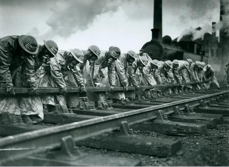 Air raid precautions (A.R.P) exercises at Neasden Depot during the Second World War