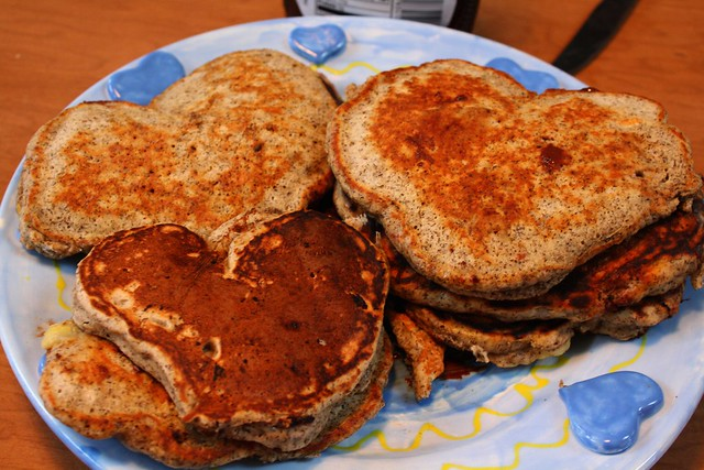 heart-shaped banana chocolate pancakes