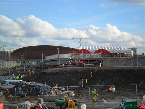 Olympic Site from Hackney Marshes - Feb 2011 - towards the Velodrome & Basketball Arena