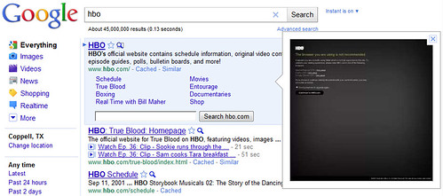 HBO's Homepage Doesn't Display Right in Google's Instant Preview