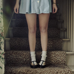 (yyellowbird) Tags: house selfportrait abandoned girl stairs square illinois lolita cari maryjanes rockford anklets bobbysox