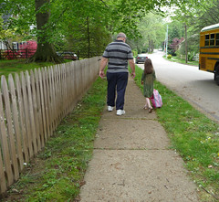 Back to School (Michele Ivy Davis) Tags: flowers school man walking spring child azaleas grandfather granddaughter schoolbus blooming schoolisout